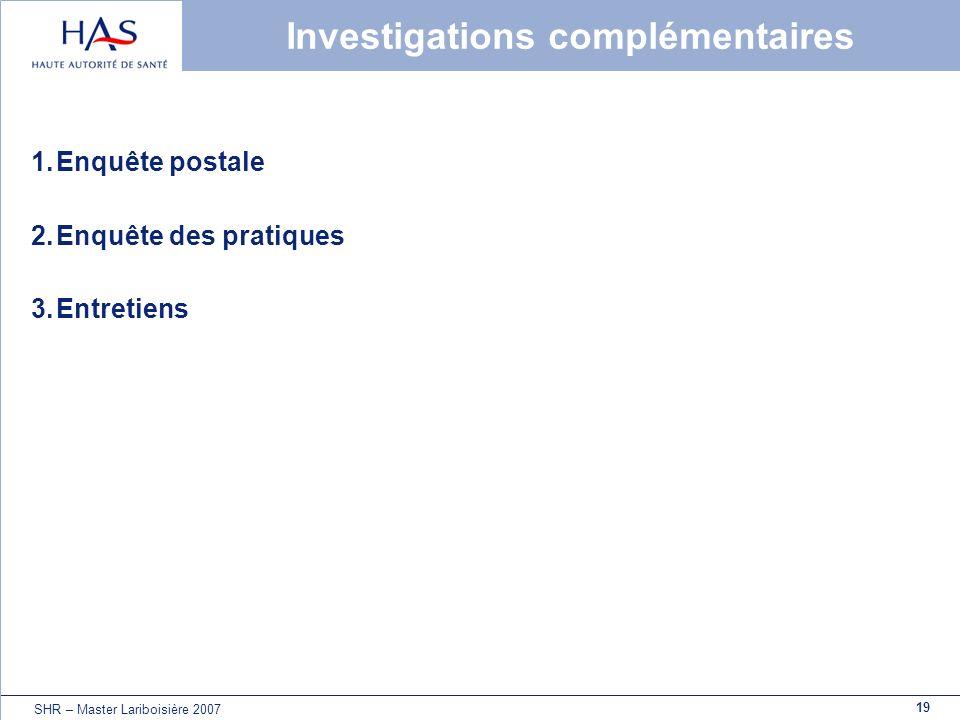 19 SHR – Master Lariboisière 2007 Investigations complémentaires 1.Enquête postale 2.Enquête des pratiques 3.Entretiens