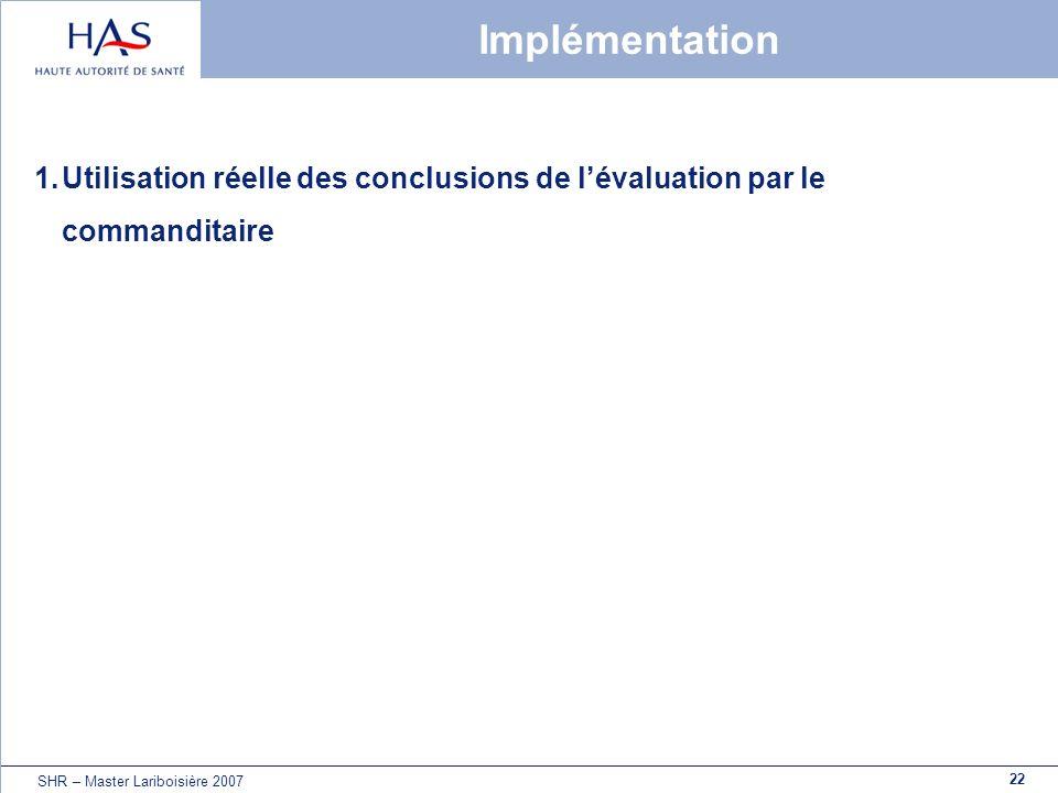 22 SHR – Master Lariboisière 2007 Implémentation 1.Utilisation réelle des conclusions de lévaluation par le commanditaire