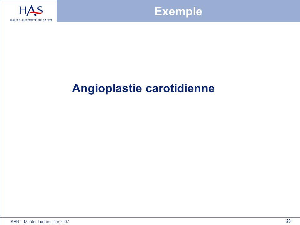 23 SHR – Master Lariboisière 2007 Exemple Angioplastie carotidienne