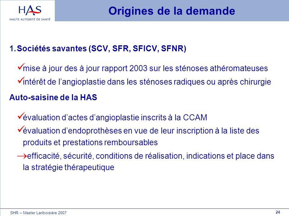 24 SHR – Master Lariboisière 2007 Origines de la demande 1.Sociétés savantes (SCV, SFR, SFICV, SFNR) mise à jour des à jour rapport 2003 sur les sténo