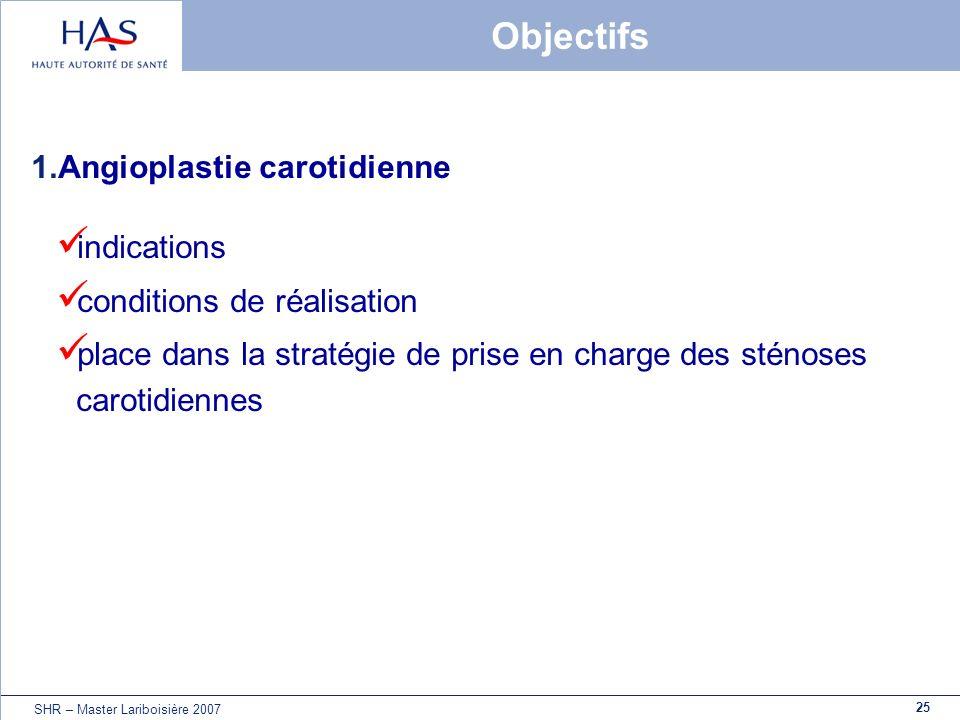 25 SHR – Master Lariboisière 2007 Objectifs 1.Angioplastie carotidienne indications conditions de réalisation place dans la stratégie de prise en char