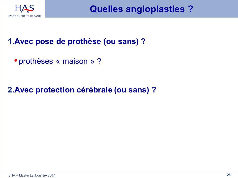 28 SHR – Master Lariboisière 2007 Quelles angioplasties ? 1.Avec pose de prothèse (ou sans) ? prothèses « maison » ? 2.Avec protection cérébrale (ou s