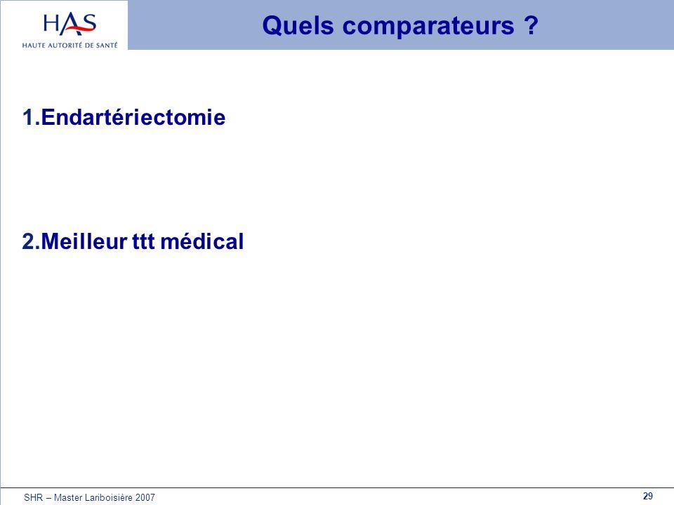 29 SHR – Master Lariboisière 2007 Quels comparateurs ? 1.Endartériectomie 2.Meilleur ttt médical