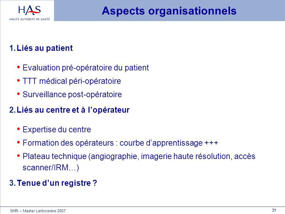31 SHR – Master Lariboisière 2007 Aspects organisationnels 1.Liés au patient Evaluation pré-opératoire du patient TTT médical péri-opératoire Surveill