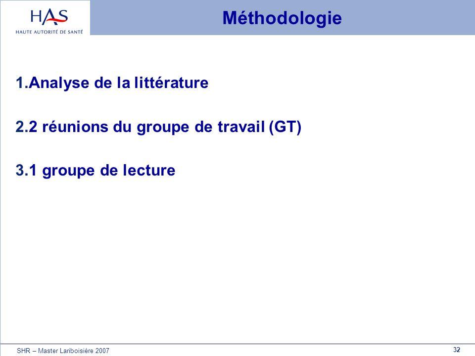32 SHR – Master Lariboisière 2007 Méthodologie 1.Analyse de la littérature 2.2 réunions du groupe de travail (GT) 3.1 groupe de lecture