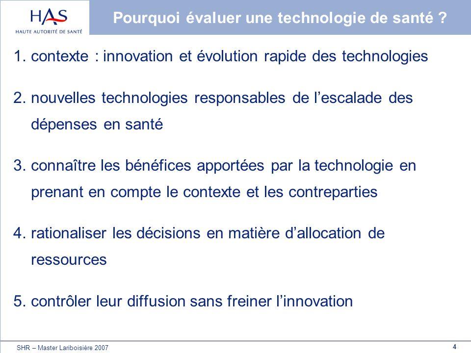 4 SHR – Master Lariboisière 2007 Pourquoi évaluer une technologie de santé ? 1.contexte : innovation et évolution rapide des technologies 2.nouvelles