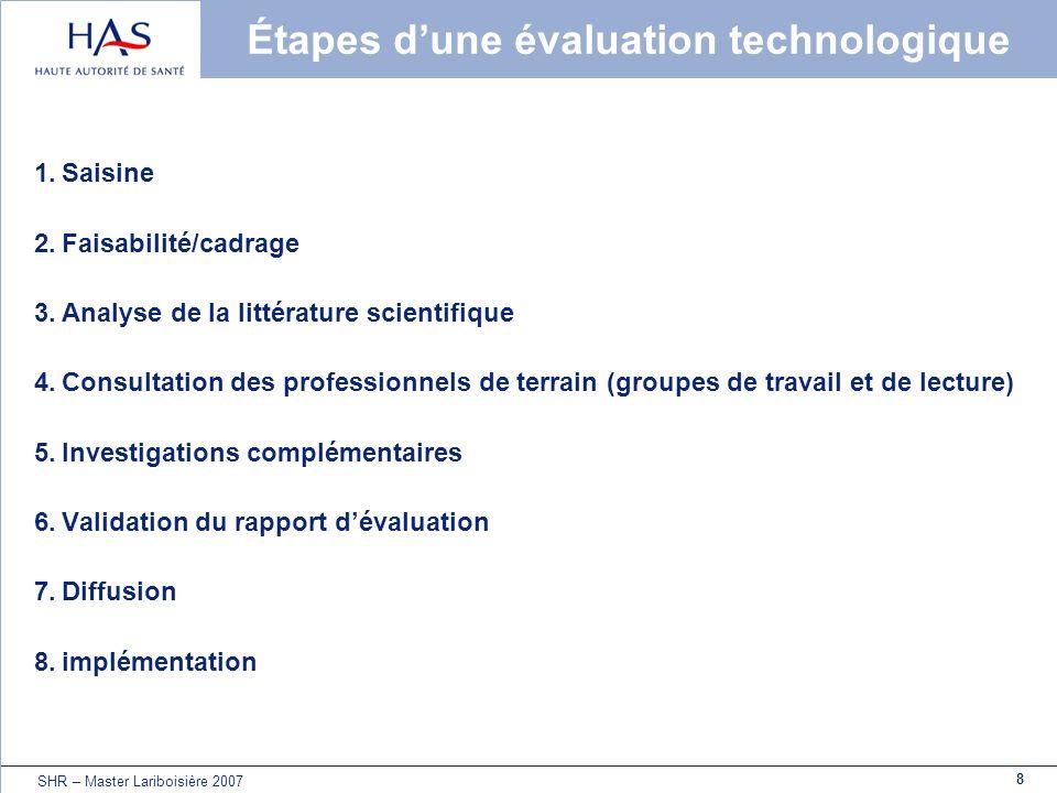 8 SHR – Master Lariboisière 2007 Étapes dune évaluation technologique 1.Saisine 2.Faisabilité/cadrage 3.Analyse de la littérature scientifique 4.Consu