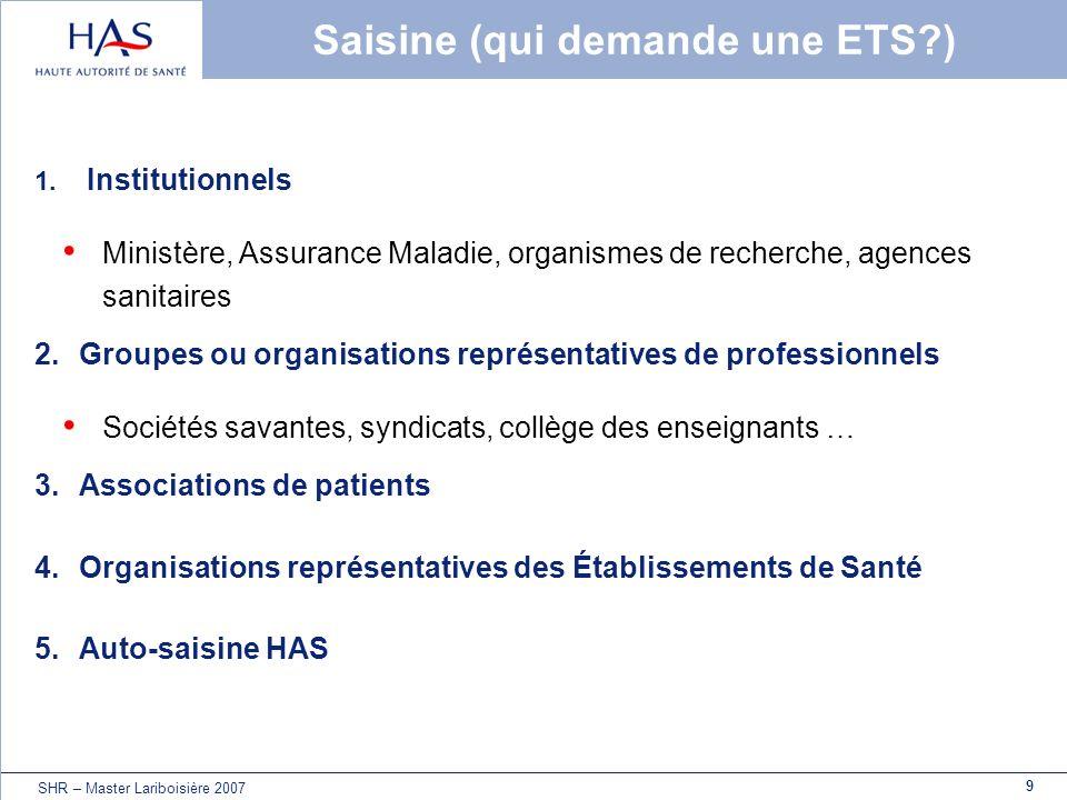 9 SHR – Master Lariboisière 2007 Saisine (qui demande une ETS?) 1. Institutionnels Ministère, Assurance Maladie, organismes de recherche, agences sani