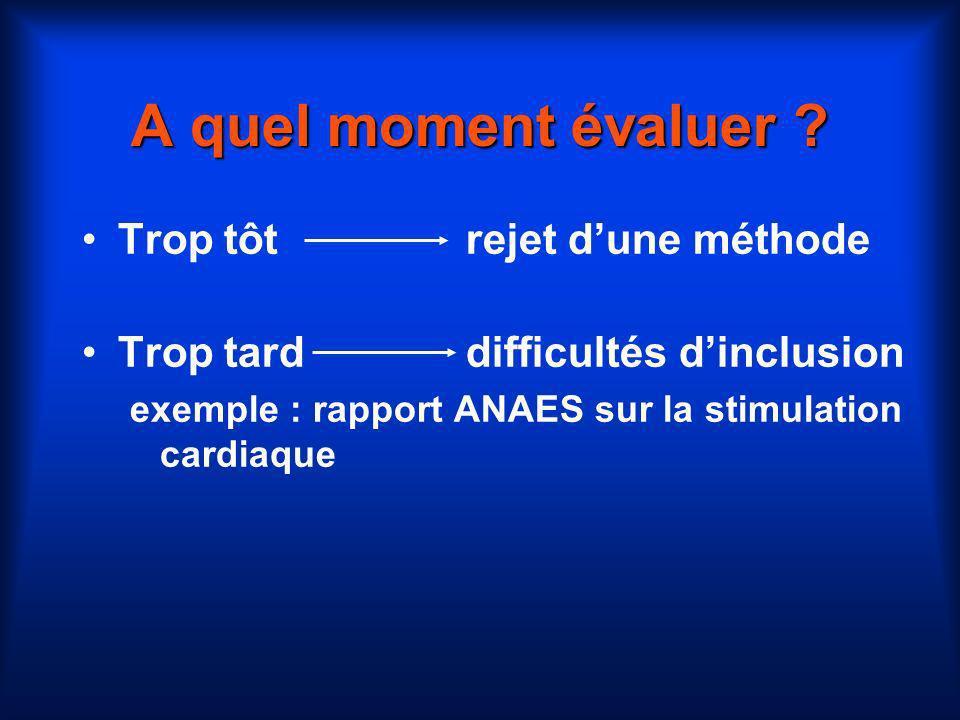 A quel moment évaluer ? Trop tôtrejet dune méthode Trop tarddifficultés dinclusion exemple : rapport ANAES sur la stimulation cardiaque