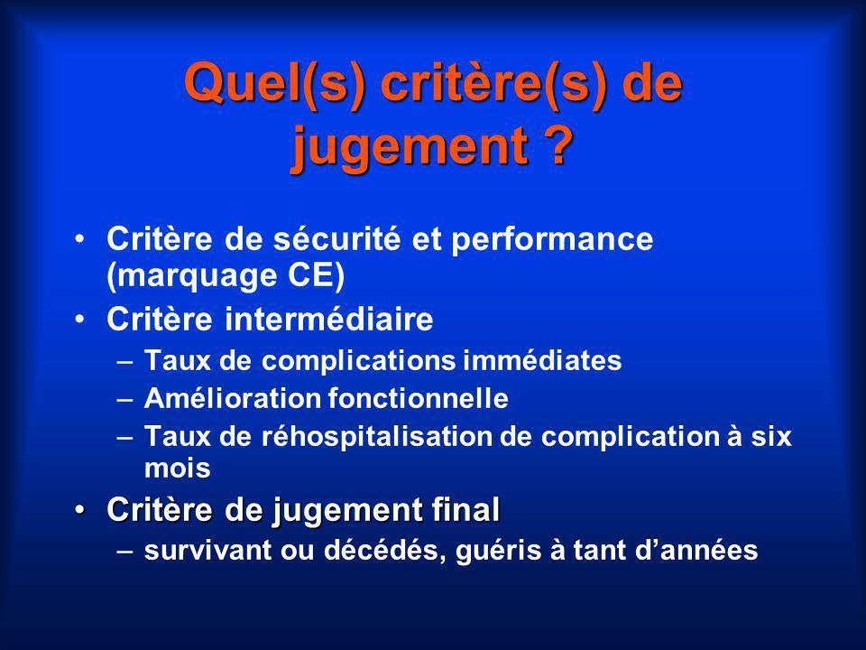 Quel(s) critère(s) de jugement ? Critère de sécurité et performance (marquage CE) Critère intermédiaire –Taux de complications immédiates –Amélioratio