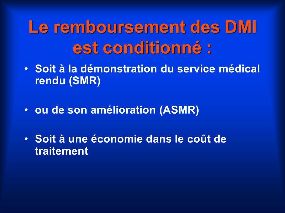 Le remboursement des DMI est conditionné : Soit à la démonstration du service médical rendu (SMR) ou de son amélioration (ASMR) Soit à une économie da