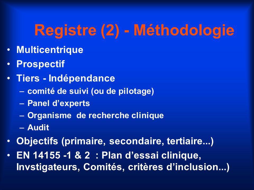 Registre (2) - Méthodologie Multicentrique Prospectif Tiers - Indépendance –comité de suivi (ou de pilotage) –Panel dexperts –Organisme de recherche c