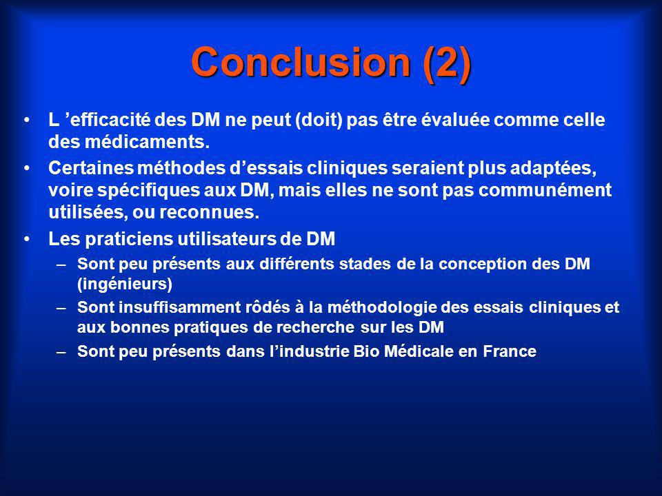 Conclusion (2) L efficacité des DM ne peut (doit) pas être évaluée comme celle des médicaments. Certaines méthodes dessais cliniques seraient plus ada