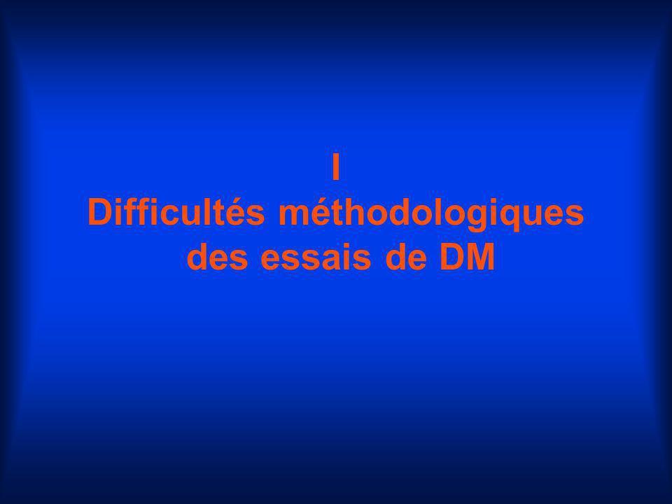 I Difficultés méthodologiques des essais de DM