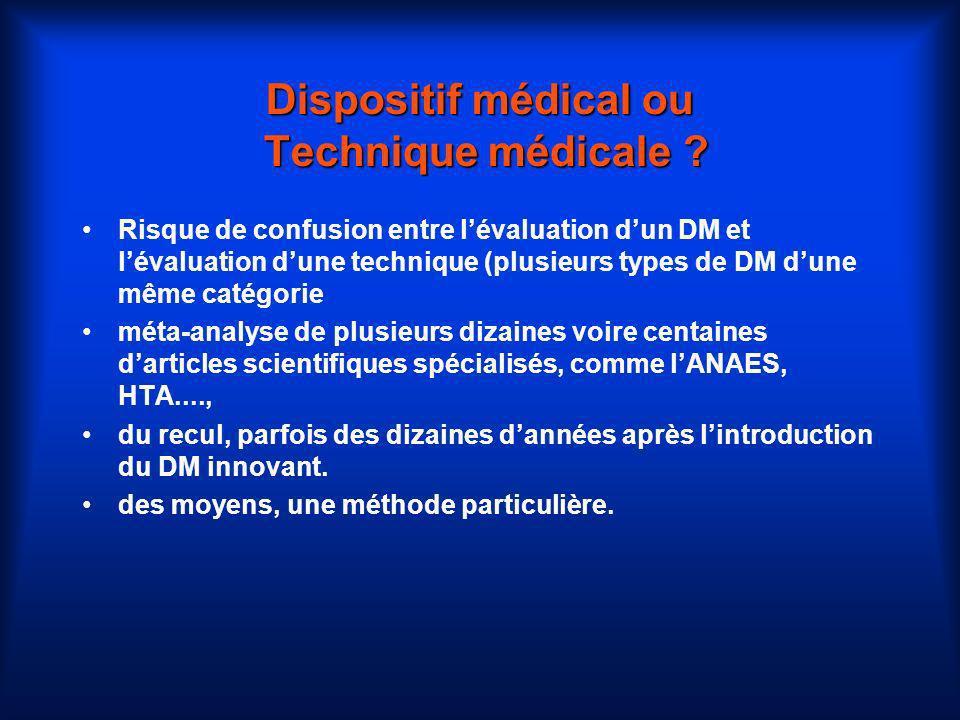 Dispositif médical ou Technique médicale ? Risque de confusion entre lévaluation dun DM et lévaluation dune technique (plusieurs types de DM dune même