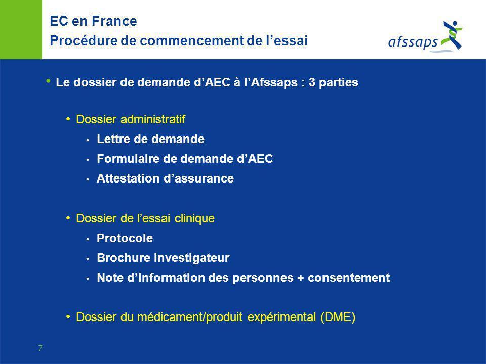 8 EC en France Procédure de commencement de lessai Dossier du médicament/produit expérimental (DME) Toutes données disponibles (format CTD) Module Qualité pharmaceutique (SV, OGM compris) Module Non clinique Module Clinique Dossier simplifié possible : le ME a une AMM dans un EM, un EC avec le même ME a déjà été autorisé etc… ME testé + comparateur