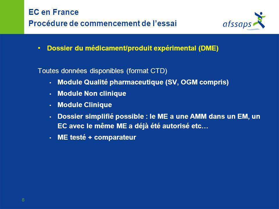 9 EC en France Bonnes Pratiques BPC pour tous les EC BPF pour tous les médicaments expérimentaux Autorisation des sites de fabrication Bonnes pratiques Personne qualifiée