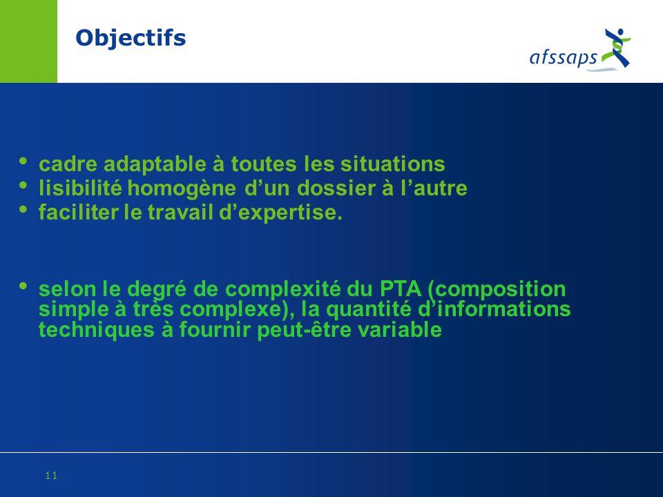 11 Objectifs cadre adaptable à toutes les situations lisibilité homogène dun dossier à lautre faciliter le travail dexpertise. selon le degré de compl