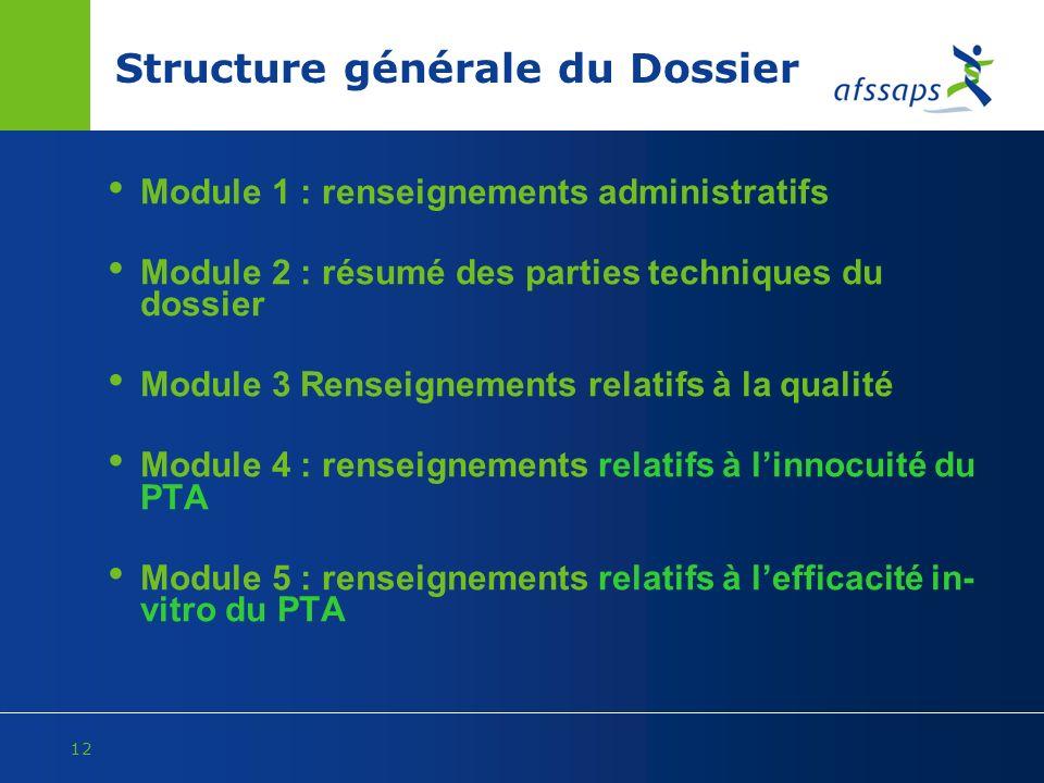 12 Structure générale du Dossier Module 1 : renseignements administratifs Module 2 : résumé des parties techniques du dossier Module 3 Renseignements