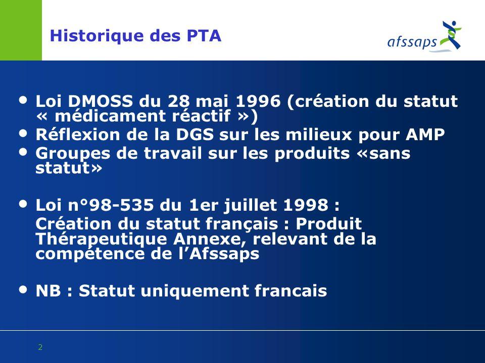 2 Historique des PTA Loi DMOSS du 28 mai 1996 (création du statut « médicament réactif ») Réflexion de la DGS sur les milieux pour AMP Groupes de trav