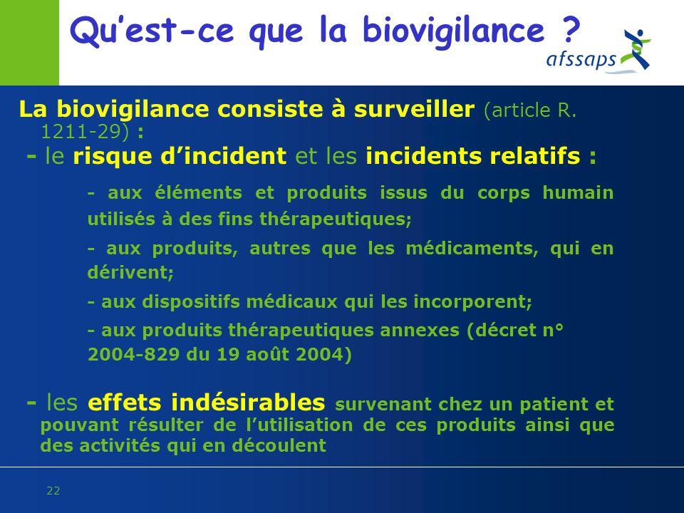 22 Quest-ce que la biovigilance ? La biovigilance consiste à surveiller (article R. 1211-29) : - le risque dincident et les incidents relatifs : - aux