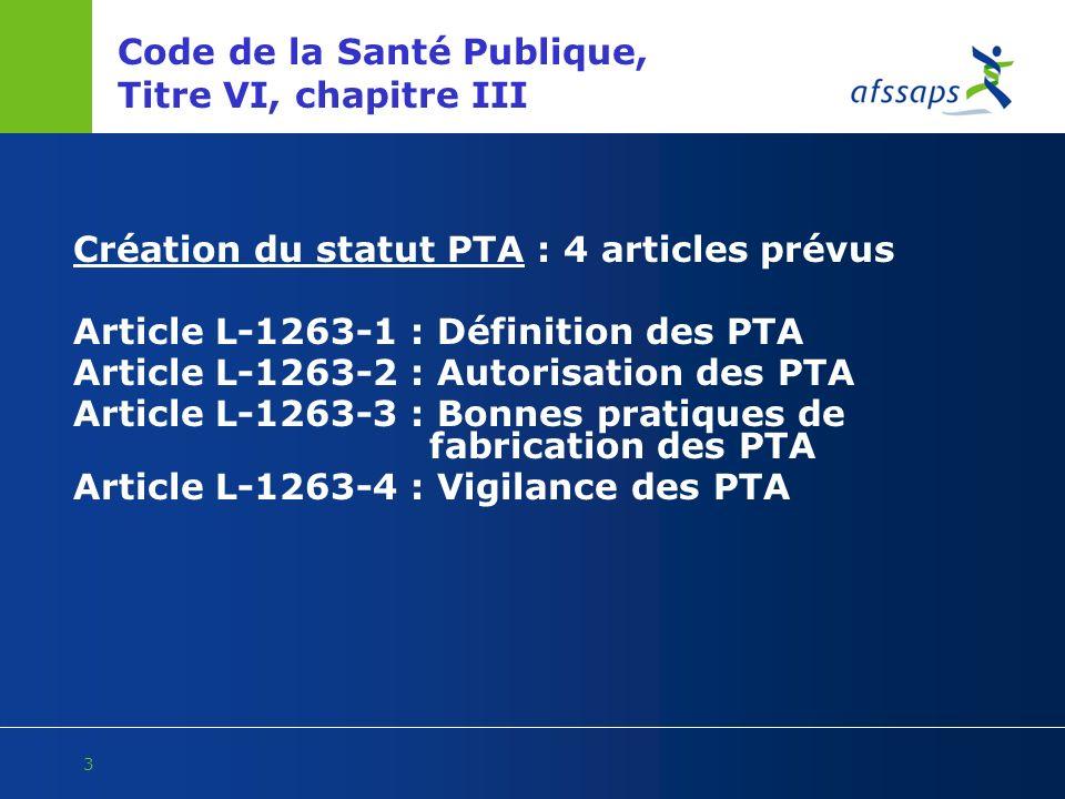 3 Code de la Santé Publique, Titre VI, chapitre III Création du statut PTA : 4 articles prévus Article L-1263-1 : Définition des PTA Article L-1263-2