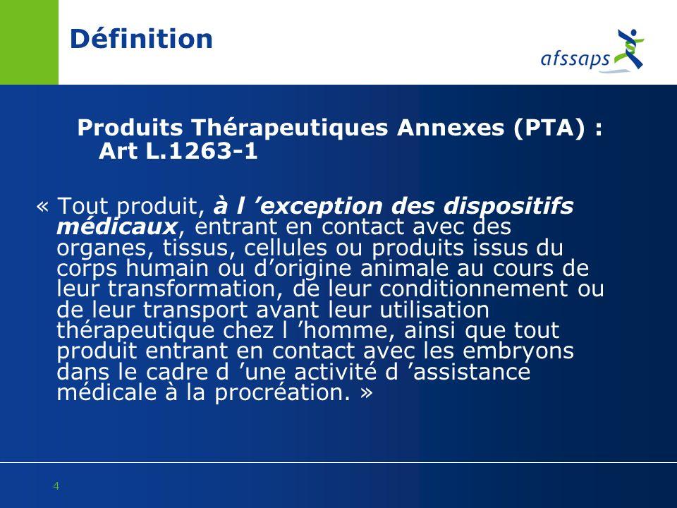 4 Définition Produits Thérapeutiques Annexes (PTA) : Art L.1263-1 « Tout produit, à l exception des dispositifs médicaux, entrant en contact avec des