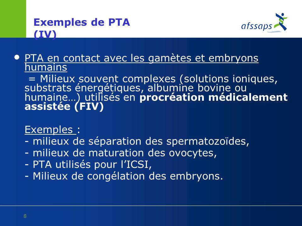 8 Exemples de PTA (IV) PTA en contact avec les gamètes et embryons humains = Milieux souvent complexes (solutions ioniques, substrats énergétiques, al
