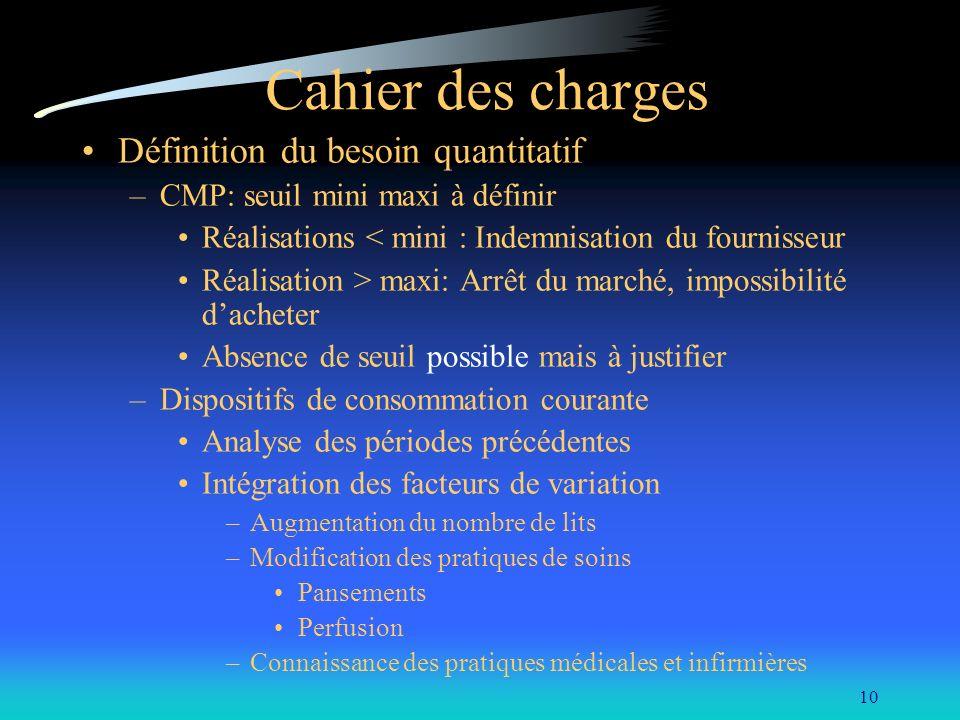 10 Cahier des charges Définition du besoin quantitatif –CMP: seuil mini maxi à définir Réalisations < mini : Indemnisation du fournisseur Réalisation