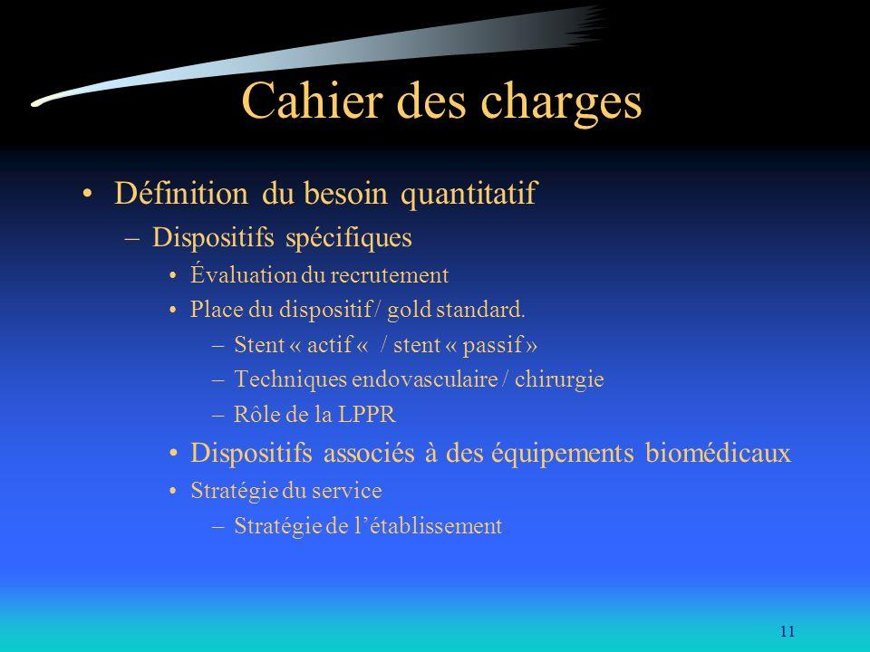 11 Cahier des charges Définition du besoin quantitatif –Dispositifs spécifiques Évaluation du recrutement Place du dispositif / gold standard. –Stent