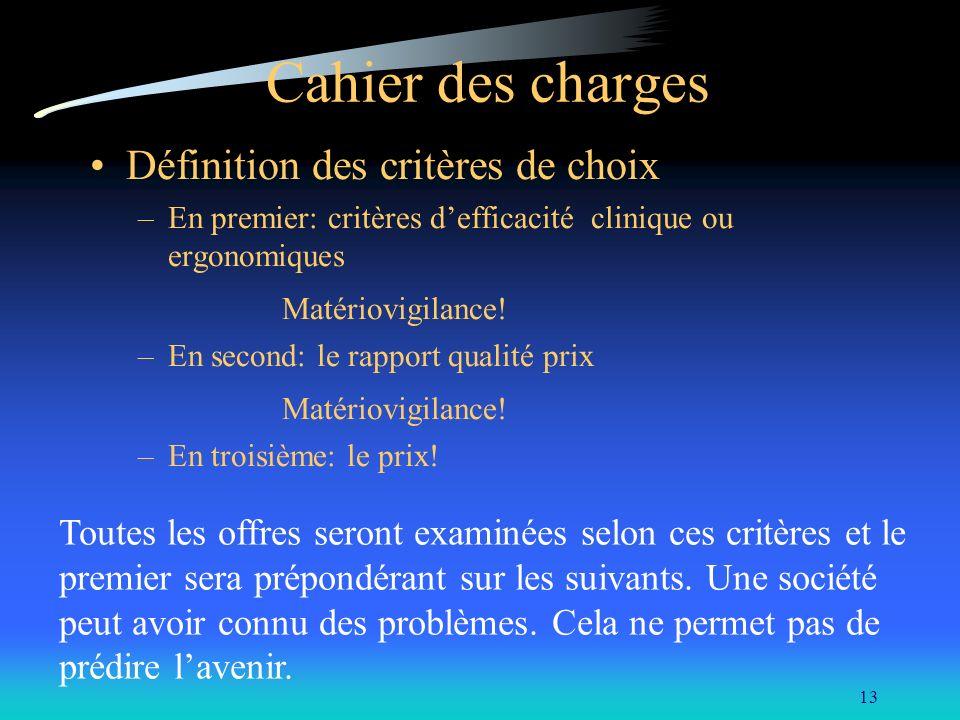 13 Cahier des charges Définition des critères de choix –En premier: critères defficacité clinique ou ergonomiques Matériovigilance! –En second: le rap