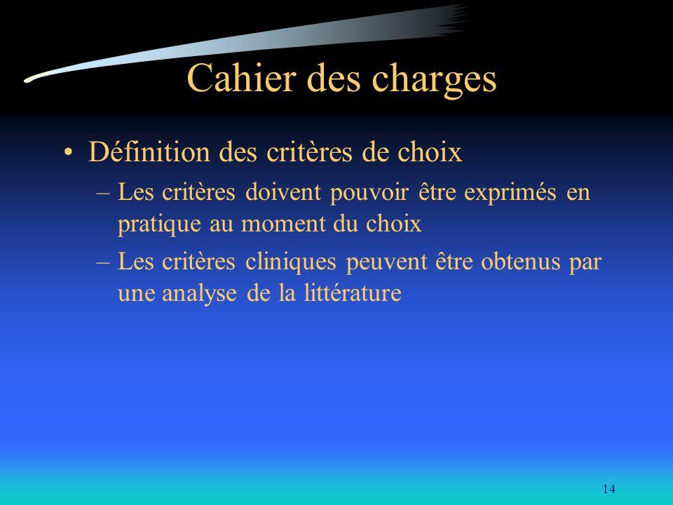 14 Cahier des charges Définition des critères de choix –Les critères doivent pouvoir être exprimés en pratique au moment du choix –Les critères cliniq