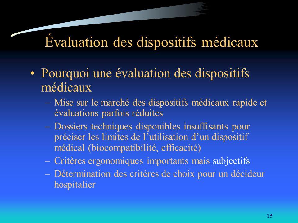 15 Évaluation des dispositifs médicaux Pourquoi une évaluation des dispositifs médicaux –Mise sur le marché des dispositifs médicaux rapide et évaluat