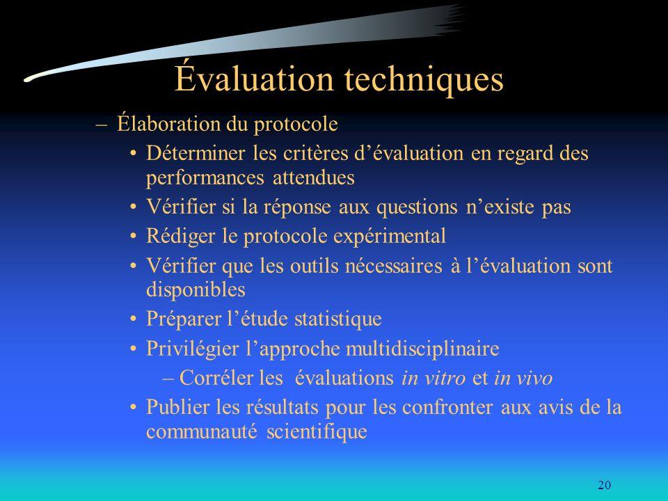 20 Évaluation techniques –Élaboration du protocole Déterminer les critères dévaluation en regard des performances attendues Vérifier si la réponse aux