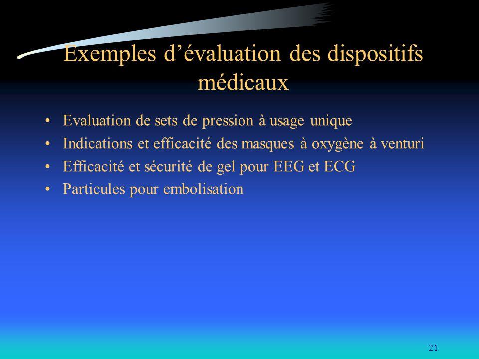 21 Exemples dévaluation des dispositifs médicaux Evaluation de sets de pression à usage unique Indications et efficacité des masques à oxygène à ventu