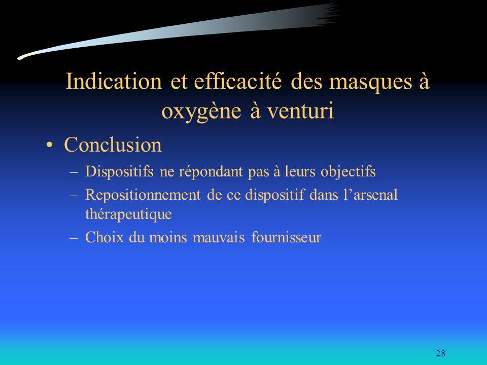 28 Indication et efficacité des masques à oxygène à venturi Conclusion –Dispositifs ne répondant pas à leurs objectifs –Repositionnement de ce disposi