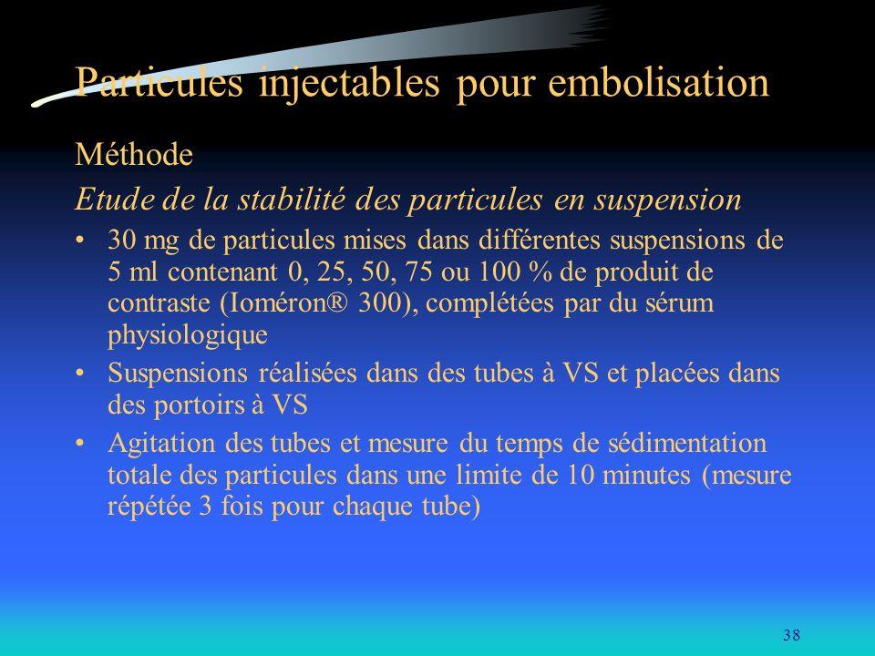 38 Particules injectables pour embolisation Méthode Etude de la stabilité des particules en suspension 30 mg de particules mises dans différentes susp