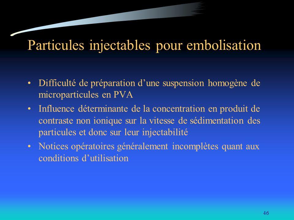 46 Particules injectables pour embolisation Difficulté de préparation dune suspension homogène de microparticules en PVA Influence déterminante de la