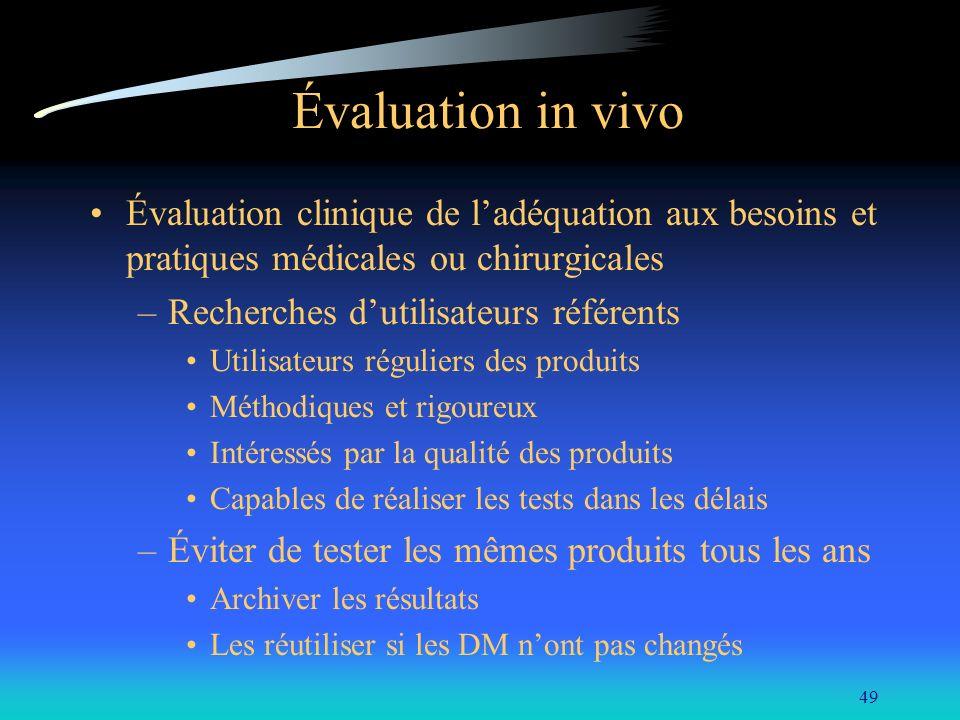 49 Évaluation in vivo Évaluation clinique de ladéquation aux besoins et pratiques médicales ou chirurgicales –Recherches dutilisateurs référents Utili