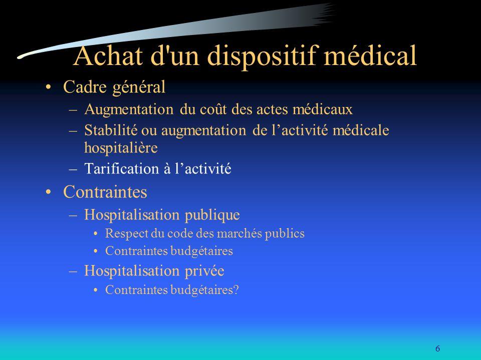 6 Achat d'un dispositif médical Cadre général –Augmentation du coût des actes médicaux –Stabilité ou augmentation de lactivité médicale hospitalière –