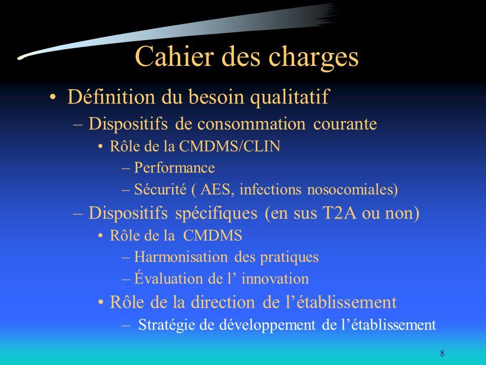 8 Cahier des charges Définition du besoin qualitatif –Dispositifs de consommation courante Rôle de la CMDMS/CLIN –Performance –Sécurité ( AES, infecti