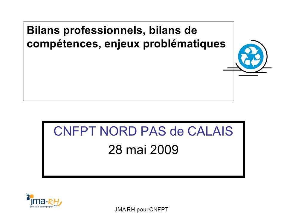 JMA RH pour CNFPT CNFPT NORD PAS de CALAIS 28 mai 2009 Bilans professionnels, bilans de compétences, enjeux problématiques