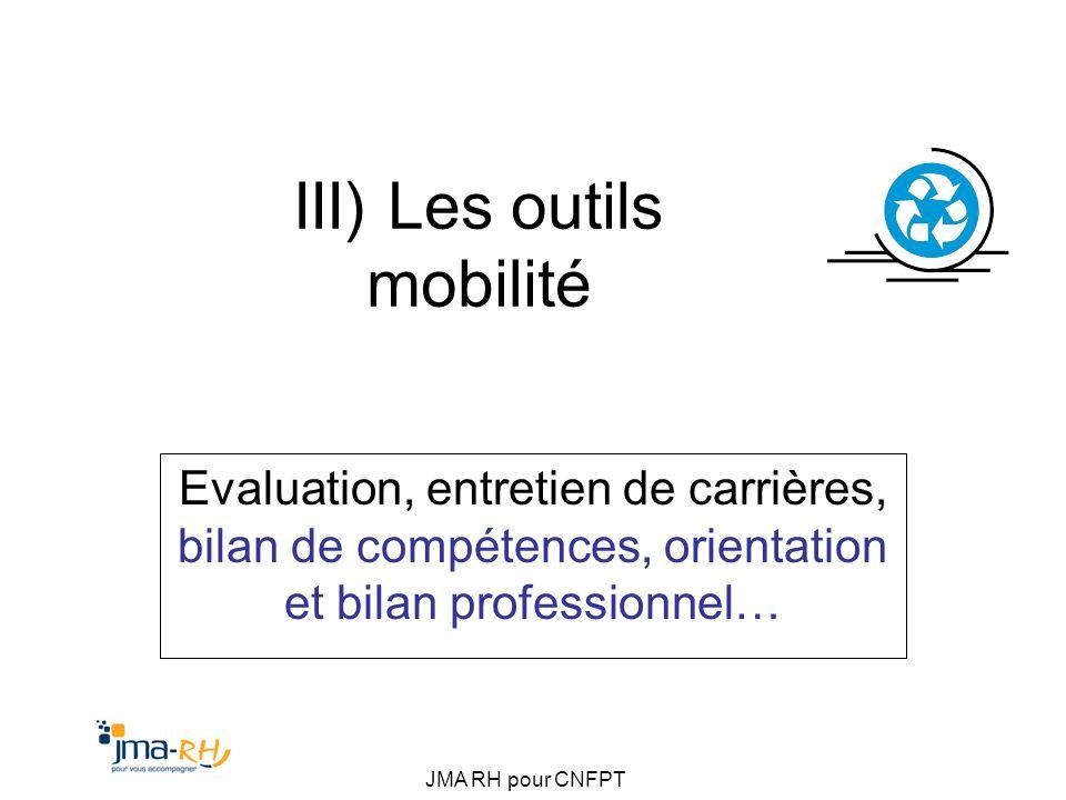 JMA RH pour CNFPT III) Les outils mobilité Evaluation, entretien de carrières, bilan de compétences, orientation et bilan professionnel…