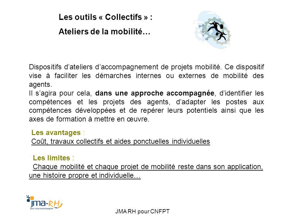 JMA RH pour CNFPT Les outils « Collectifs » : Ateliers de la mobilité… Dispositifs dateliers daccompagnement de projets mobilité. Ce dispositif vise à