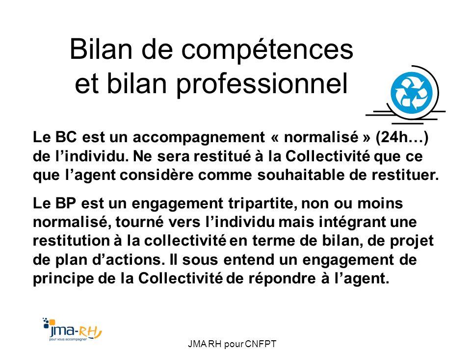 JMA RH pour CNFPT Bilan de compétences et bilan professionnel Le BC est un accompagnement « normalisé » (24h…) de lindividu. Ne sera restitué à la Col