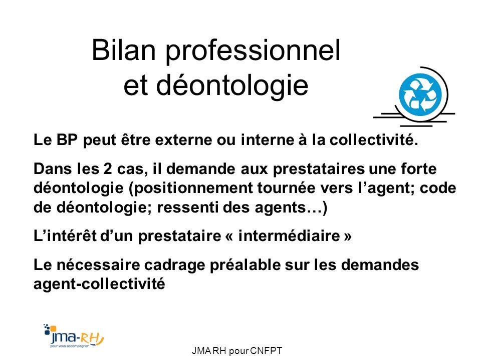 JMA RH pour CNFPT Bilan professionnel et déontologie Le BP peut être externe ou interne à la collectivité. Dans les 2 cas, il demande aux prestataires