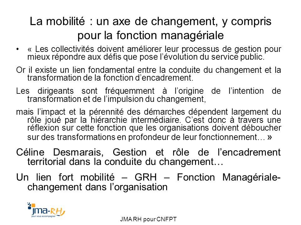 JMA RH pour CNFPT La mobilité : un axe de changement, y compris pour la fonction managériale « Les collectivités doivent améliorer leur processus de g