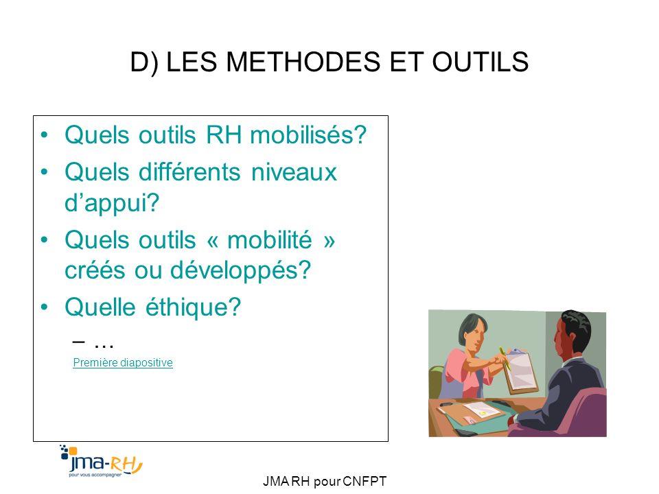 JMA RH pour CNFPT D) LES METHODES ET OUTILS Quels outils RH mobilisés? Quels différents niveaux dappui? Quels outils « mobilité » créés ou développés?