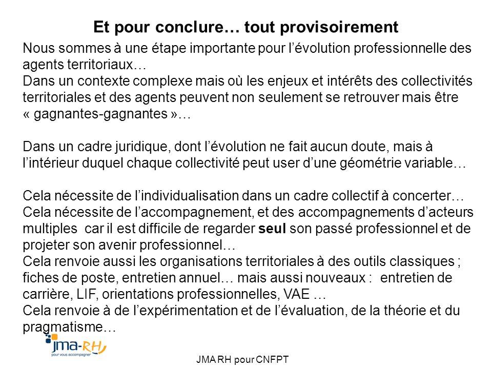 JMA RH pour CNFPT Et pour conclure… tout provisoirement Nous sommes à une étape importante pour lévolution professionnelle des agents territoriaux… Da