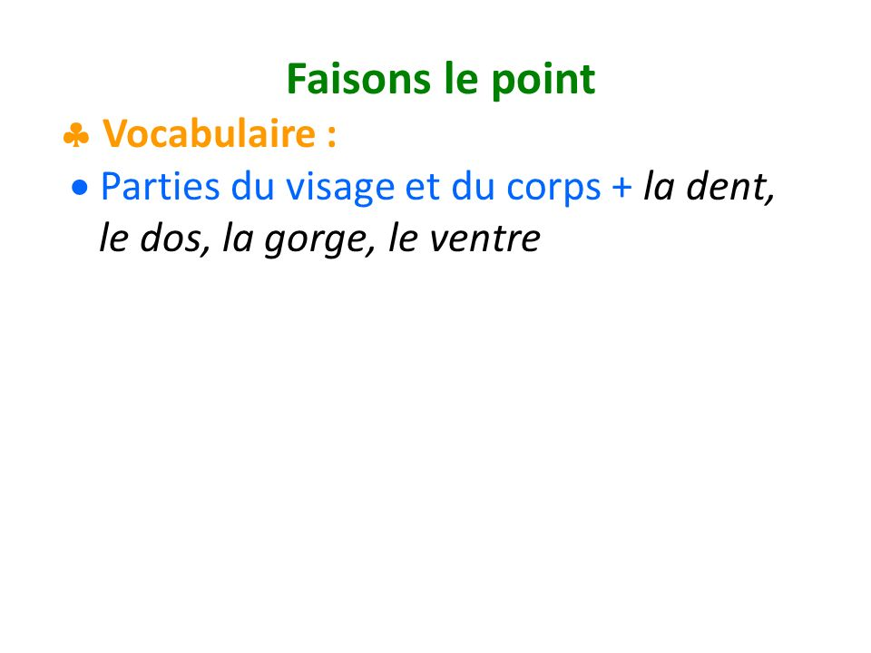 Faisons le point Vocabulaire : Parties du visage et du corps + la dent, le dos, la gorge, le ventre